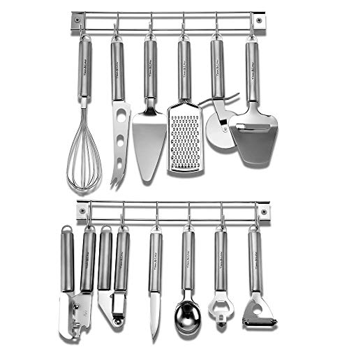 Kitchen Utensil Set – 14 Piece Cookware Stainless Steel Cooking Tools and Gadgets Set with Wall Mounted Hanger Rack-Tam&Law