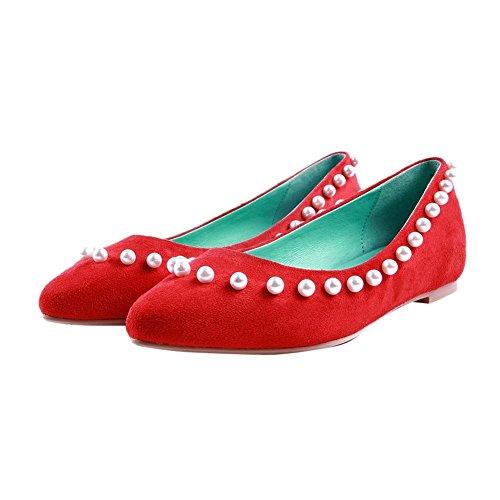 Mostrar Los Zapatos Planos De Los Holgazanes De Shine Mujeres Fashion Con Cuentas Rojos
