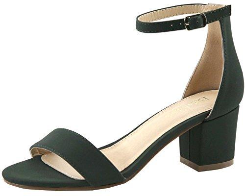 Bella Marie Women's Strappy Open Toe Block Heel Sandal (7 B(M) US, Olive NB)