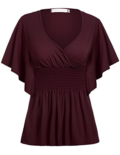 ELESOL Women's Batwing Sleeve Slim Fit V-neck Short Smocked Empire Waist Tunic Top Dark Red XXXL (Dresses Empire Smocked)