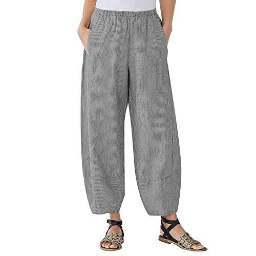 Adeliber Women's Casual Cotton Linen Striped Pants GoodLock Ankle-Length Wide Leg Pants Trousers Black