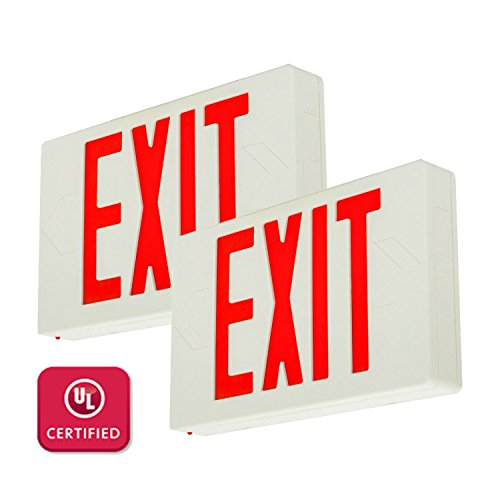 LFI Lights - 2 Pack - UL Certified - Hardwired Red LED Exit Emergency Sign Light - Standard - Battery Backup - LEDRBBx2