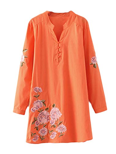 Mordenmiss Women's New Floral Embroidered Shirt Long Sleeve V-neck Blouse (M,Orange)