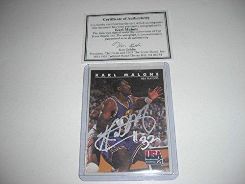 Karl Malone Utah Jazz Mailman Auto #3 Scoreboard/coa & Stamp Signed Card - Basketball Autographed -