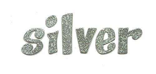 (Silver Metallic Glitter HandCut Chipboard Letters Alphabet set Sickers 2