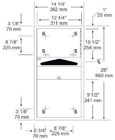 AJW Washroom U627 Recessed Paper Towel Dispenser and Waste Receptacle