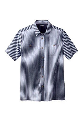 Short Sleeve Mens Striped Shirt (KingSize Men's Big & Tall Short Sleeve Striped Shirt, Navy Stripe Tall-2Xl)