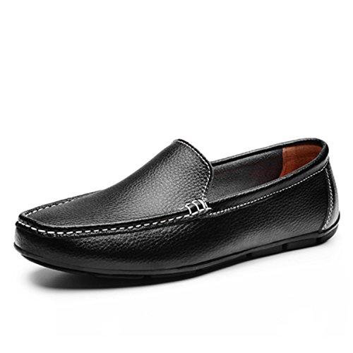 Hombres de Zapatos Negro Transpirable Negro Hombres Hombres Slip para Aire Zapatos Planos al On Dividido Conducción Cuero Sólidos para Botia Mocasines para Libre Mocasines de XOnqSW4AE