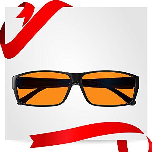 Swanwick Blue Light Blocking Glasses - Wear Over your Readers - Prescription Spectacles for Better Sleep Eye Strain Relief (Black) Regular