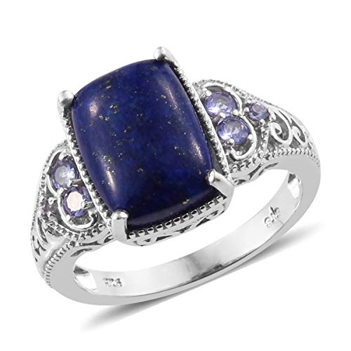 925 Sterling Silver Platinum Plated Lapis Lazuli Tanzanite Statement Ring for Women Jewelry Size 7 (Simon Crystal Clock)