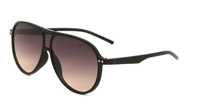 e18c1f32aaa Khan Retro Turbo Oversized Flat Top Aviator Sunglasses (Black   Brown  Frame
