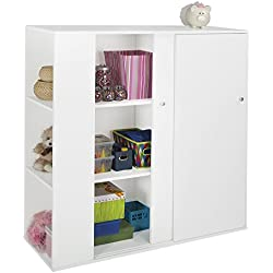 South Shore Kids Storage Cabinet with Sliding Doors - Toy Organizer, Pure White