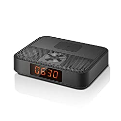 Bluetooth Speakers with FM Radio, Portable Alarm Clock, Wireless Charger for iPhone Samsung, Bluetooth V5.0 Music Player with Stereo Sound, 7 Hrs Play Time, Built-in Microphone, for Office Home Party