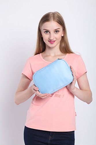 Lily & Drew Travel Jewelry Storage Carrying Case Jewelry Organizer Removable Pouch (V1 Light Blue) by Lily & Drew (Image #1)