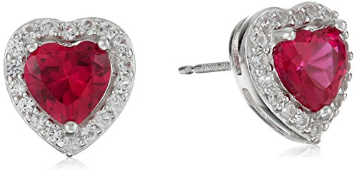 (Sterling Silver Created Ruby and Created White Sapphire Halo Heart Stud Earrings )