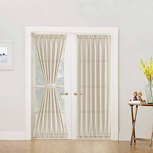 jinchan French Door Panels Beige 72 Inch Privacy Casual Weave Textured Rod Pocket Semi Sheer Curtians Tieback Included One Piece (Top Rod And Curtains Pocket Bottom)