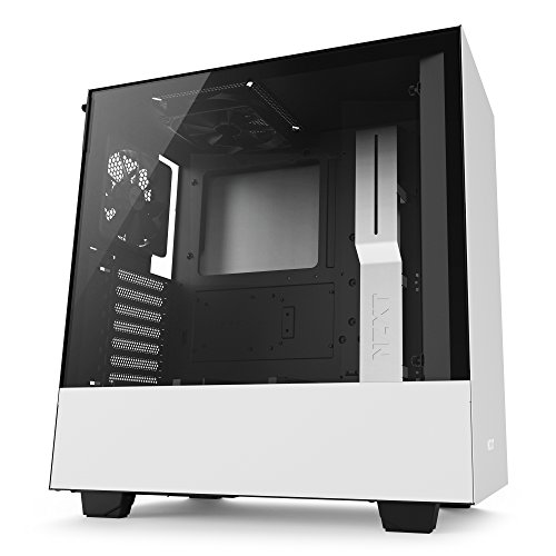 NZXT H500 – Compact ATX Mid-Tower Case – Tempered Glass Panel – All-Steel Construction – Enhanced Cable Management System – Water-Cooling Ready - White\Black ()