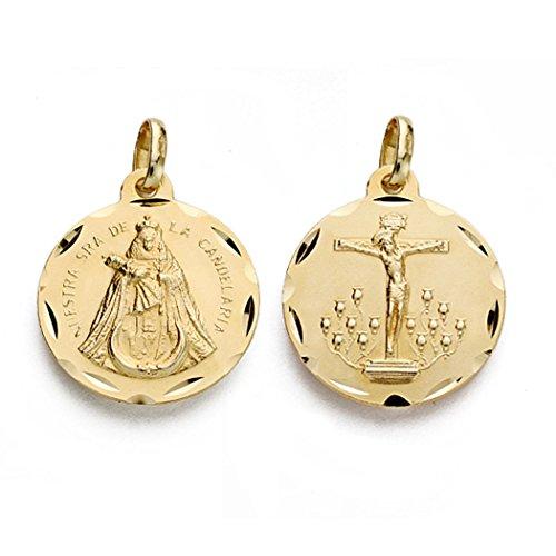 18k médaille d'or Christ Llaguna Candelaria Virgin 18mm. [AA0031]