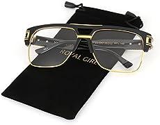 0923e210c16d VW Eyewear – Classic Square Frame Plastic Flat Top Aviator Glasses ...