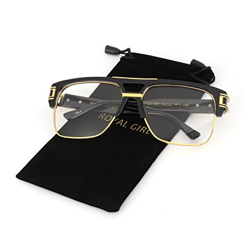 - ROYAL GIRL Vintage Aviator Glasses For Men Luxury Oversize Square Retro Classic Clear Lens Glasses (Black Frame, 68)