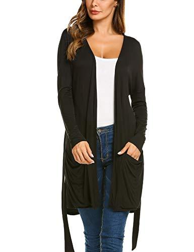 EASTHER Open Duster Cardigan Women's Pockets Split Hem Long Sleeve Casual Duster ()