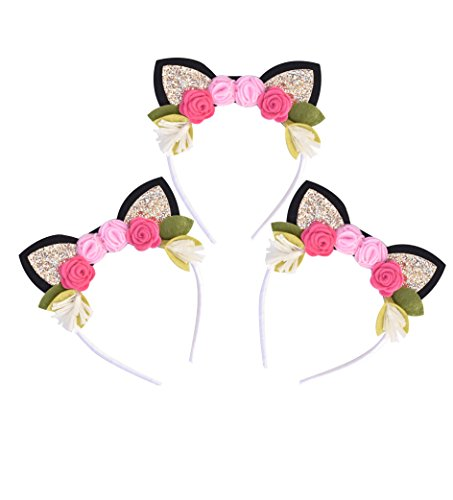 California Tot California Tot Pack of 3 Kitty Cat Crown Headbands with Glitter Ears & Felt Flowers for Babies, Toddlers, Girls (3 Pack kitty) (Pink Glitter Flower)