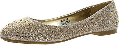 a37ed0574b21 JJF Shoes Nine14 Champagne Sparkle Raindrop Rhinestone Glitter Mesh ...