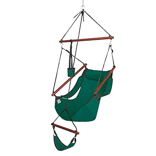 OnCloud Upgraded Unique Hammock Hanging Sky Chair, Air Deluxe Swing Seat with Rope Through The Bars Safer Relax with Fuller Pillow and Drink Holder Solid Wood Indoor/Outdoor Patio Yard 250LBS, Green