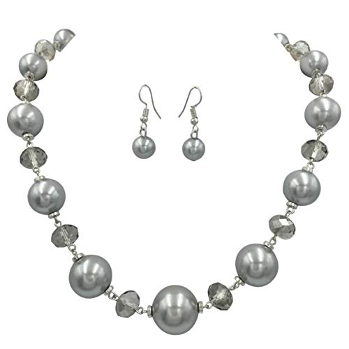 Single Row Simple Beaded Statement Multi Color Necklace & Dangle Earrings Set (Simulated Grey Pearl)