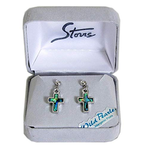 Storrs Wild Pearle Handmade Abalone Shell Post Earrings Simple Cross