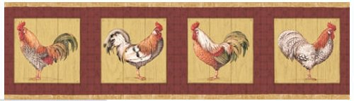 Rooster Red Border (Rooster Farming Farm Country Barnyard Animal Wallpaper Border - Red)