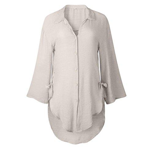 Shirt Tops Blouse T Womens Dress FEITONG Loose Casual Khaki Long Button wqFOIz0