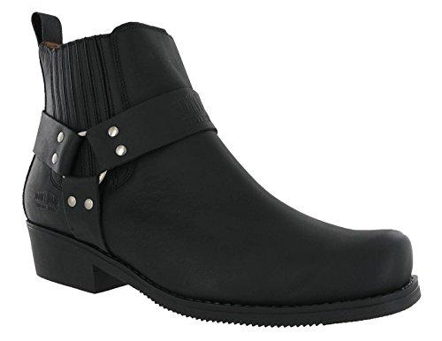 Johnny Bulls Mens Leather Cowboy Western Gusset Harness Ankle Biker Dress Boots Black 4809 fezW4r
