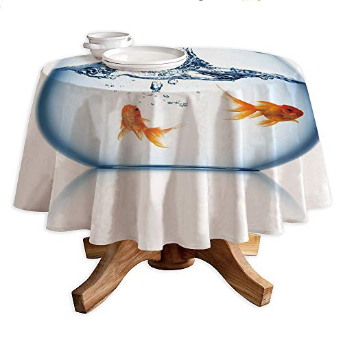 Aquarium Round Polyester Tablecloth,Goldfish Jumping Out of The