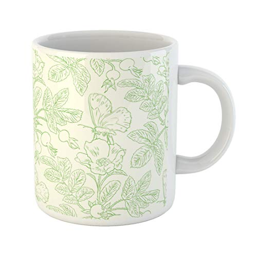 - Semtomn Funny Coffee Mug Pink Toile Wild Roses Pattern Drawing Flower Sketch Antique Berry 11 Oz Ceramic Coffee Mugs Tea Cup Best Gift Or Souvenir