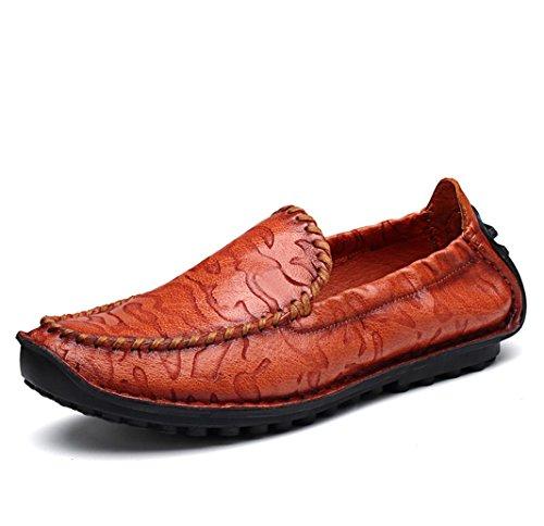 Heart&M cuero genuino de la moda casual de los hombres zapatos de cuero de resistencia red brown