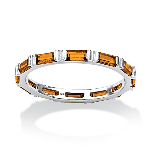Baguette Simulated Birthstone .925 Sterling Silver Eternity Band - November - Simulated Citrine - Citrine Baguette