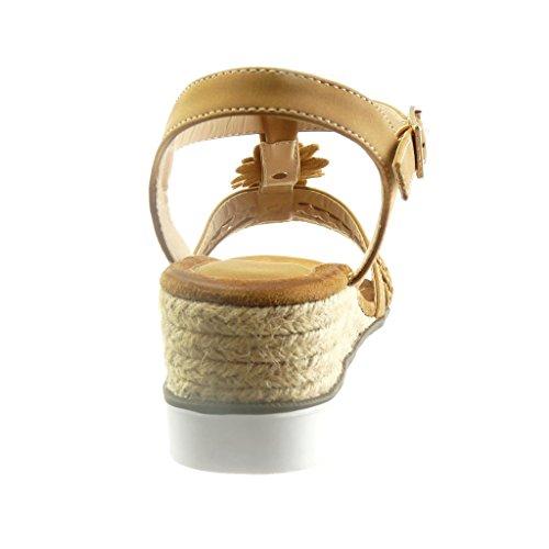 Angkorly - damen Schuhe Sandalen Espadrilles - T-Spange - Plateauschuhe - Offen - Blumen - Strass - Seil Keilabsatz high heel 4.5 CM - Camel