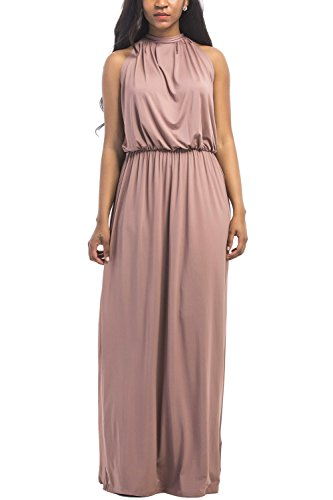 - WIWIQS Women Sleeveless Loose Plain Maxi Dresses Evening Club Long Dresses,Brown,L