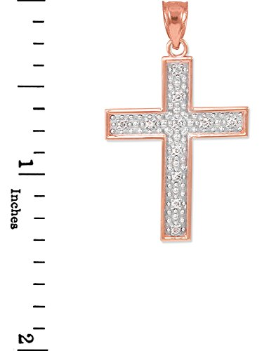 10 ct 471/1000 Or Rose Diamant Croix Pendentif
