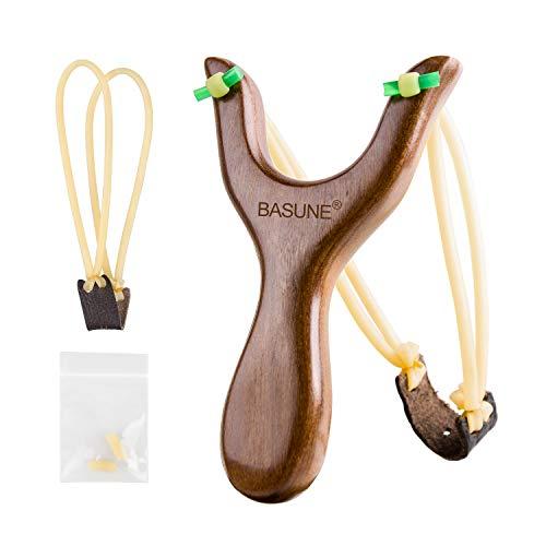 BASUNE Slingshot Y-Shaped Rosewood Wooden Slingshot Toy for Kids Slingshot with Rubber Bands for Hunting Catapult Game ()