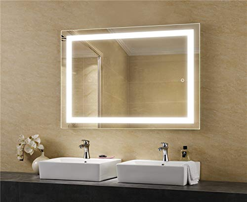 LEDMyplace LED Bathroom Lighted Mirror 24x36 Inch, Lighted Vanity Mirror Includes Defogger, Touch Switch Controls LED Light with On-Off and CCT Remembrance, ETL Listed, Aluminium Structure
