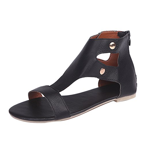 Juleya Womens Flat Sandals Summer Shoes Peep Toe Sandals, Rivet Roman Sandals, Gladiator Sandals Casual Party Office Outdoor Shoes 36-43 Black