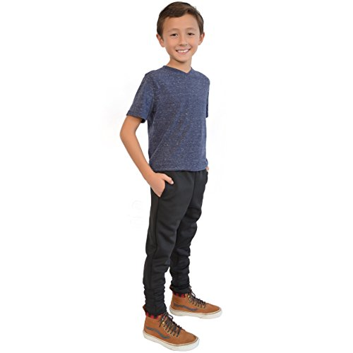 6688bdfca Stretch is Comfort Boy's Slim Fit Jogger Play Pant Black Large ...