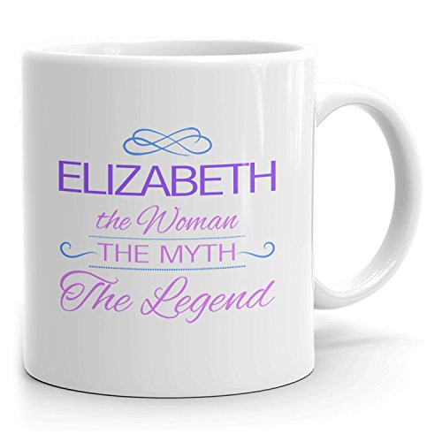 Elizabeth Coffee Mugs - The Woman The Myth The Legend - Best Gifts for Women - 11oz White Mug - Purple