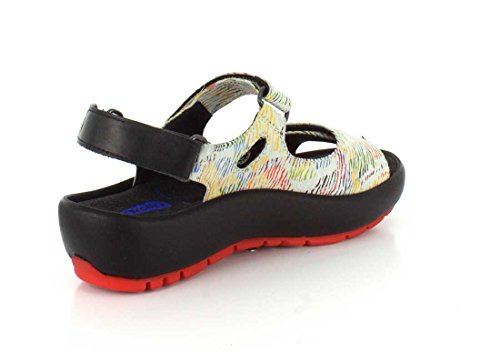 Wolky Womens 3325 Rio Leather Sandals 798 weiß/multi color canal Leder