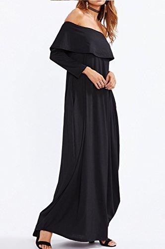 Dos Poche L'épaule Femmes Du Maxi Les Robe Black Nu Patchwork oxeWrdCB