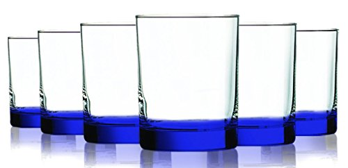 Accent Blue Frost (Cobalt Blue Beverage Aristocrat Double Old Fashioned Glasses with Beautiful Accent - 14 oz. set of 6- Additional Vibrant Colors Available)