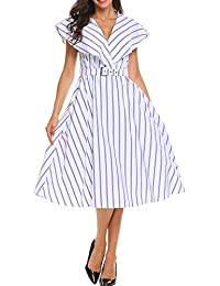 Women's Lapel Striped Sleeveless A Line Pleated Midi Shirt Dress With Belt