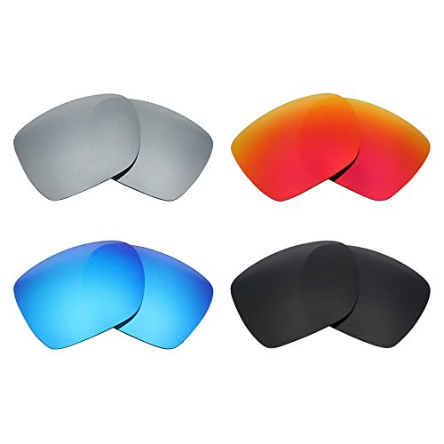 Mryok 4 Pair Polarized Replacement Lenses for Oakley Deviation Sunglass - Stealth Black/Fire Red/Ice Blue/Silver Titanium by Mryok